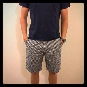 men's J Crew gingham shorts, 32